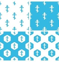 Orthodox cross patterns set vector
