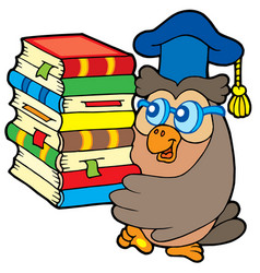 Owl teacher holding pile of books vector