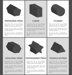 pentagrammic pentagonal and hexagonal prisms set vector image