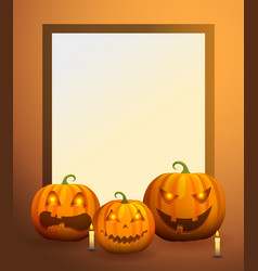 photo frame with pumpkin lanterns and candles vector image