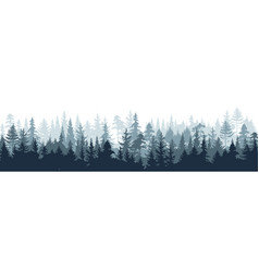 pine forest silhouette wood tree background wild vector image