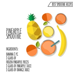 Pineapple smoothie recipe hand drawn in f vector