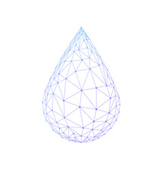 Polygon water drop isolated on white background vector