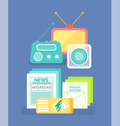 radio and message paper old communication vector image
