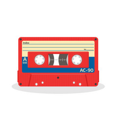 retro audio cassette in red color isolated on a vector image