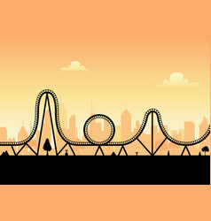 roller coaster ride silhouette park vector image