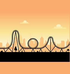 Roller coaster ride silhouette park vector
