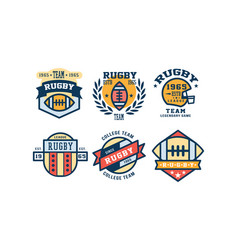 rugby league logo design set vintage college team vector image
