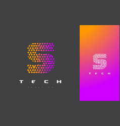 s letter logo technology connected dots letter vector image