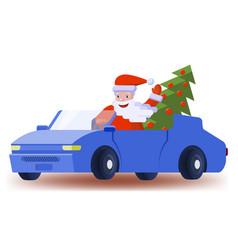 santa claus drives a car with an elegant christmas vector image
