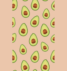 seamless pattern sliced avocado on rose gold vector image