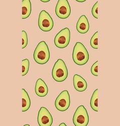 Seamless pattern sliced avocado on rose gold vector