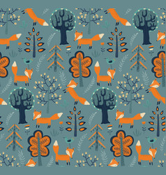 seamless pattern with hand drawn fox in the vector image