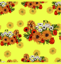 seamless pattern with sunflowers sand poppies vector image
