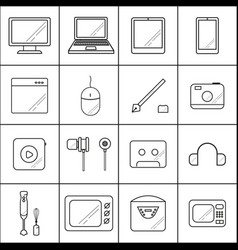 set icons with lines technology on white vector image