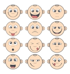Set of baby smiley Cute cartoon kids emoticon vector image