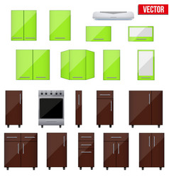 Set of realistic modular kitchen objects vector