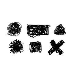 Set of scribble stains hand drawn in pen vector