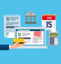 set service tax with laptop and dataphone report vector image
