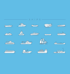 ships concept line style icons set vector image