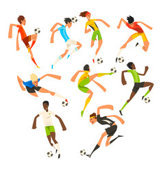 soccer player set football athletes playing vector image