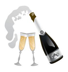 Splash opened festive tasty champagne bottle vector