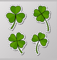 st patrick day greeting stickers with clover vector image