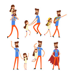 super hero dad and his daughter set super busy vector image