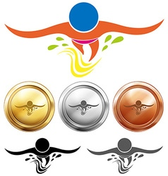 Swimming icon and sport medals vector image