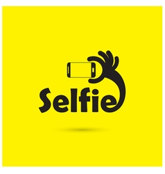 Taking selfie portrait photo on smart phone concep vector image