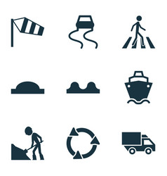 Transport icons set with side wind road work vector