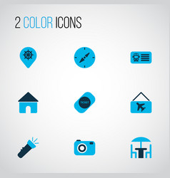 trip icons colored set with label flashlight vector image