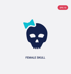 two color female skull icon from general concept vector image