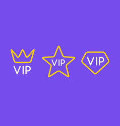 vip line icon flat exclusive important membership vector image