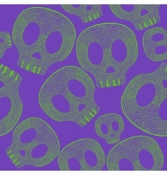 Vividl skulls on purple background - seamless vector image
