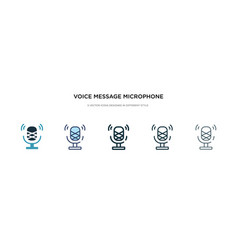 Voice message microphone button icon in different vector