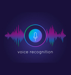 voice recognition concept microphone round button vector image
