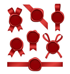 wax stamp and ribbons sealed red rubber postal vector image