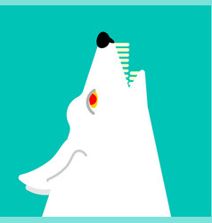 White wolf howls head isolated vector