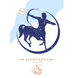 Witchcraft card with astrology sagittarius vector