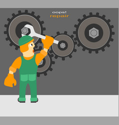 Worker repairs the mechanism vector