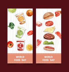 World food day flyer design with pumpkin broccoli vector