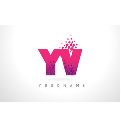 Yv y v letter logo with pink purple color and vector