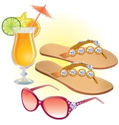 Beach accessories vector image