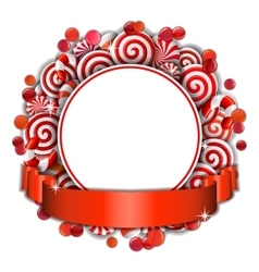 Frame with red and white candies vector image vector image