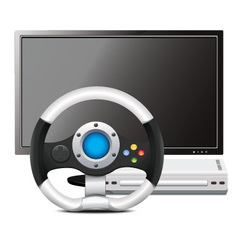 Game Steering Wheel With TV vector image