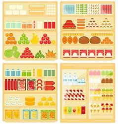 Set of Shop and Supermarket Shelves vector image