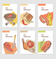 bbq and grill hand drawn cards brochure menu vector image vector image