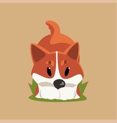 cartoon red-haired welsh corgi dog in playful pose vector image vector image