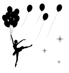dancing balerina with balloons black silhoette vector image